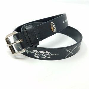belt Black vegan leather OTB skull & sword 26